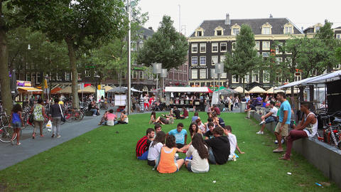 People relaxing on a meadow at Rembrandt Square City of Amsterdam Footage
