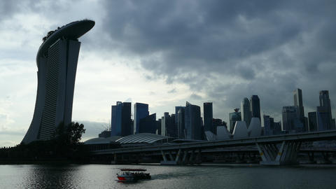 Dark clouds above Marina Bay Sands and the skyline from Singapore Footage