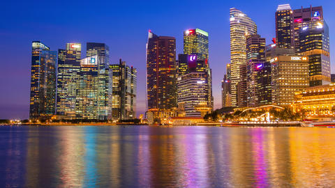 Evening in Singapore and the Backlight of Downtown. Time Lapse Footage