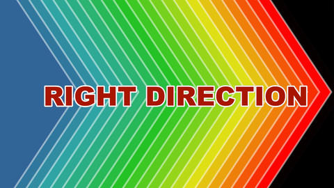 Right direction, animated arrows shape in spectrum colors, animated letters Animation