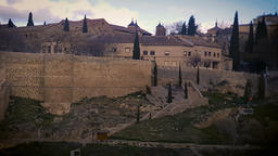 Toledo, Spain - February 2, 2018: Zip line over the Tajo river at the gate of 画像
