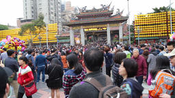 Worshippers gathering at Lonshang Temple Taipei Taiwan on Chinese New Year 2018 GIF