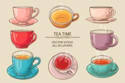 tea cups set color Vector