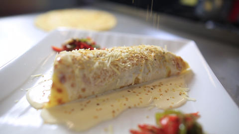 Pancake Stuffed With Vegetables, Vegetable Crepe With Sesame Footage