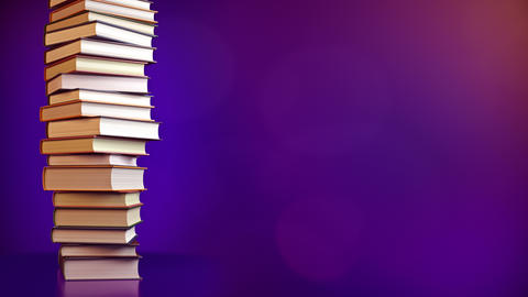 A Stack of books on a blue background. 4k resolution 3D rendering CG動画素材
