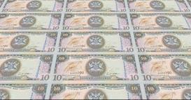 Banknotes of ten dollars of Trinidad and Tobago, cash money, loop Animation