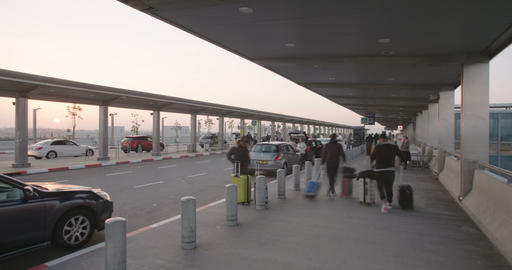 Timelapse of passengers arriving with cars to the terminal at the airport Footage