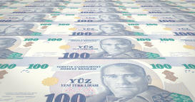 Banknotes of one hundred turkish liras of Turkey, cash money, loop Animation