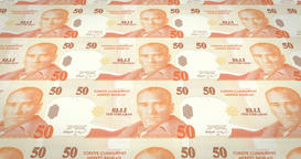 Banknotes of fifty turkish liras of Turkey, cash money, loop Animation