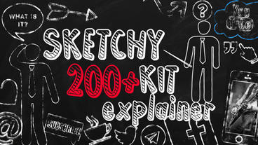 SKETCHY explainer elements packs, 200 icons pack, frames pack, arrows pack, After Effects Template