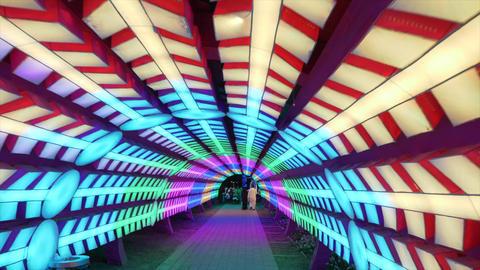 Dubai, UAE - January 13, 2018: Tourists walking in colorful magic tunnel in Glow ภาพวิดีโอ