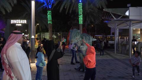 Dubai, UAE - January 13, 2018: Arabian people afraid of animator in realistic Live Action