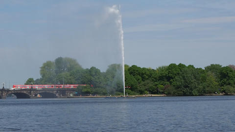 Alsterfontaene (Alster Fountain) at Binnenalster (Inner Alster lake) in Hamburg Footage