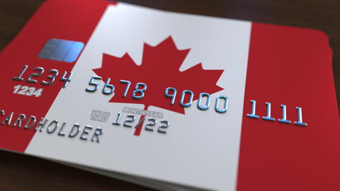 Plastic bank card featuring flag of Canada. National banking system related 3D フォト