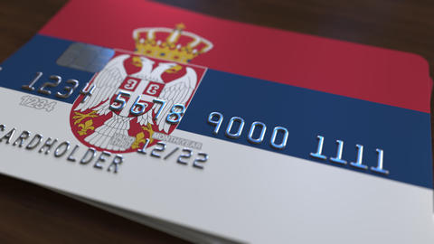 Plastic bank card featuring flag of Serbia. National banking system related Footage