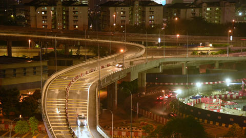 Busy night and roadside construction for expansion in Kuala Lumpur, Malaysia Footage