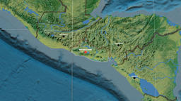 Zoom-in on El Salvador outlined. Topographic Animation