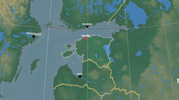 Zoom-in on Estonia outlined. Relief Animation