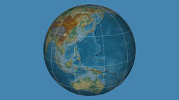 Zoom-in on Falkland Islands outlined. Relief Animation