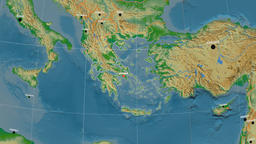 Zoom-in on Greece outlined. Physical Animation