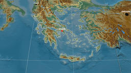 Zoom-in on Greece extruded. Relief Animation