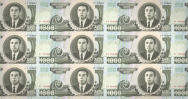 Banknotes of one thousand wons of North Korea rolling, cash money, loop Animation