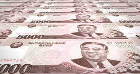 Banknotes of five thousand wons of North Korea rolling, cash money, loop Animation