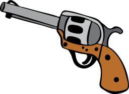 steel revolver hand-drawn Vector