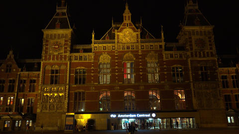Amsterdam Central Station By Night City Of Amsterdam stock footage