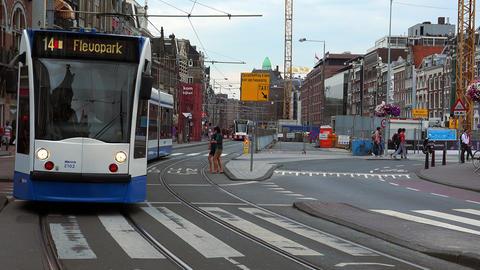 Public Transport In Amsterdam Tram City Of Amsterdam stock footage