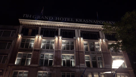 Grand Hotel Krasnapolsky Famous Hotel In Amsterdam By Night City Of Amsterdam stock footage