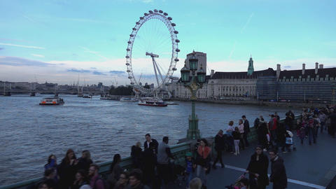 Lot of tourists at Westminster Bridge one of the main spots for sightseeing in L Live Action