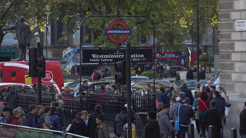 Westminster Station At Parliament Street - LONDON, ENGLAND stock footage