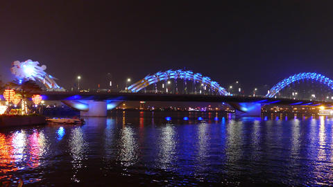 Dragon bridge in the evening with a blue color Footage