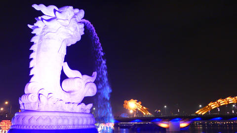 Time lapse from the Ca Chep Hoa Rong fountain with the dragon bridge changing co Footage