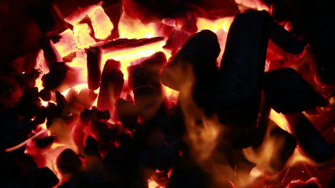 Embers and ashes of mighty big fireplace ablaze Footage