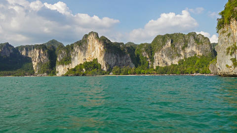 View on the coastline from boat, Krabi, Thailand Footage