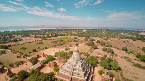 Flying Over Temples In Bagan, Myanmar (Burma) stock footage