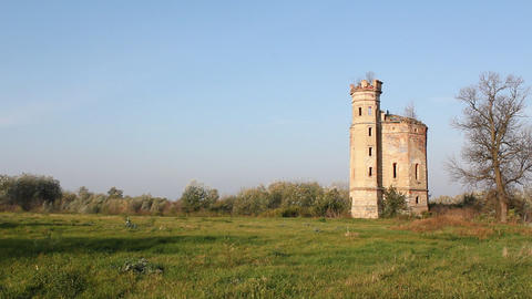 landscape with old ruined castle Footage
