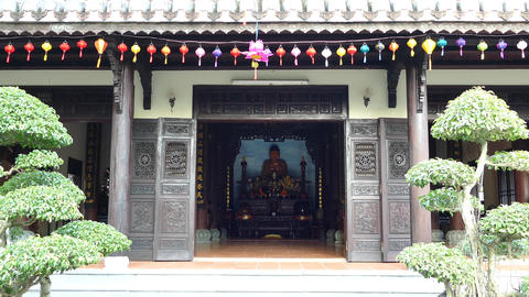 Entrance of the temple with lanterns at the Chuc Thanh Pagoda Footage