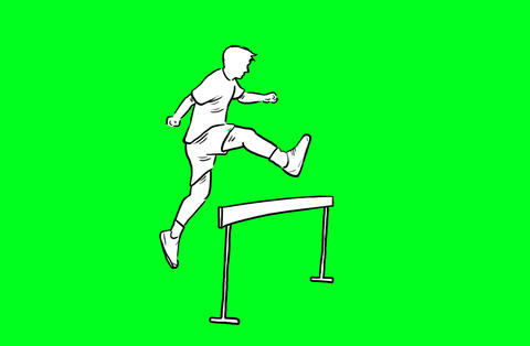Running and jumping over hurdle Animation