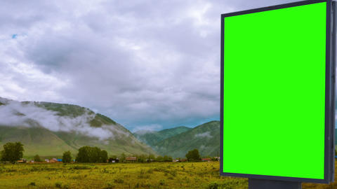 Billboard green screen in the field Live Action