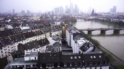 Frankfurt Germany Maine River and Business Towers in Snowy Day Time Lapse Image