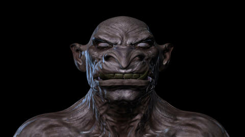Digital 3D Animation of a morphing Creature Face Image