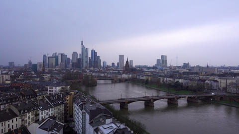 Frankfurt Germany Maine River and Business Towers in Snowy Day Time Lapse Footage
