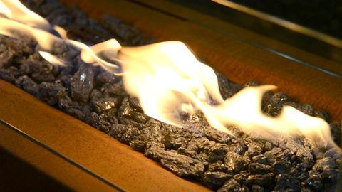 Modern bio fireplot on ethanol gas close-up Archivo