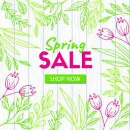 Spring sale. Discount template on wood background ベクター
