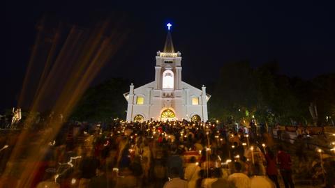 Timelapse religious festival of St Anne's festival Live Action