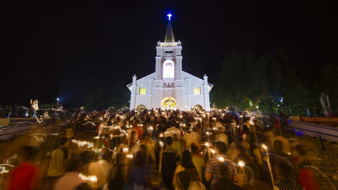 Timelapse Night of Candle Light Procession Live Action