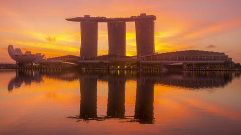 Dawn in Singapore on the Background of Marina Bay Sands Hotel. Time Lapse GIF